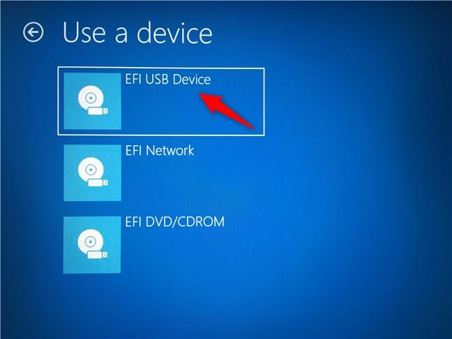 Sélection de la clé USB à partir de laquelle le PC doit démarrer