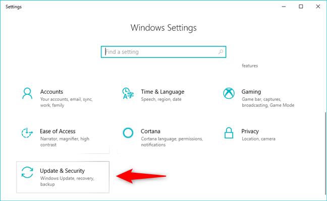 Mise à jour et paramètres de sécurité dans Windows 10