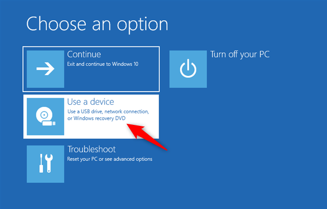 Choosing to use a device to start the PC