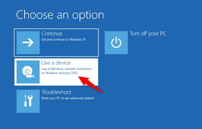 Choisir d'utiliser un appareil pour démarrer le PC