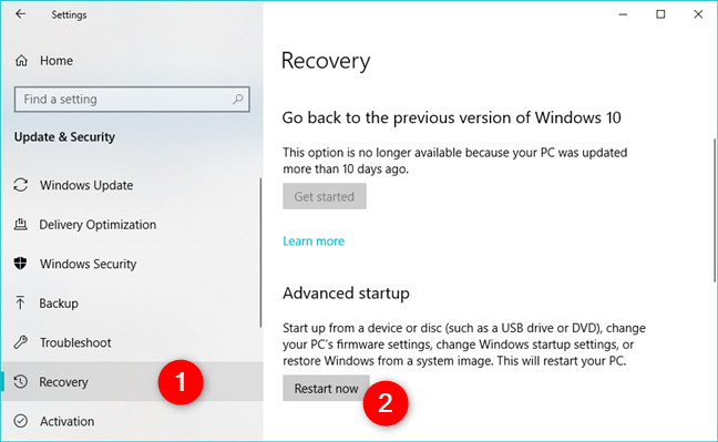 Advanced startup recovery options in Windows 10