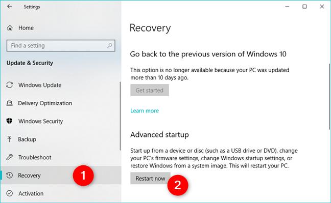 Options de récupération de démarrage avancées dans Windows 10