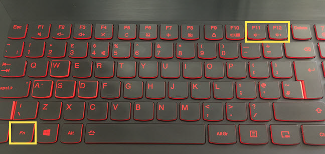 The keys used for shortcuts to change the brightness on a Lenovo keyboard