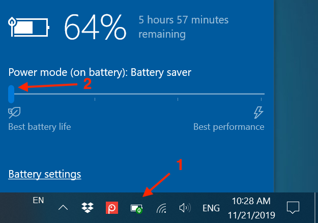 Saving battery dims the display of your device