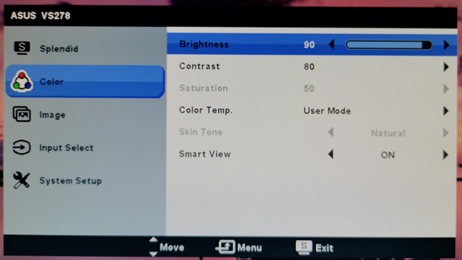 Adjusting the brightness of a computer display using its menus