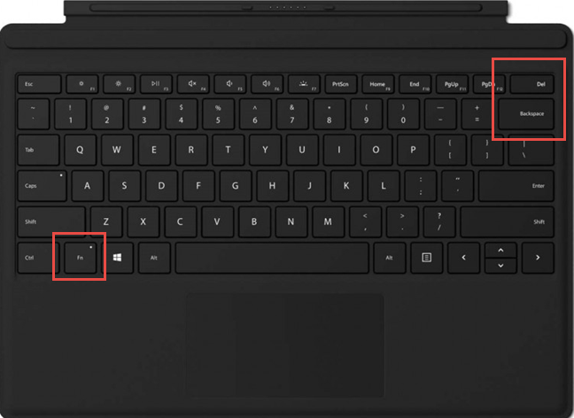 The keys used for shortcuts to change the brightness on a Surface Type Cover
