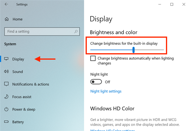 Adjust the brightness from Windows 10's Settings