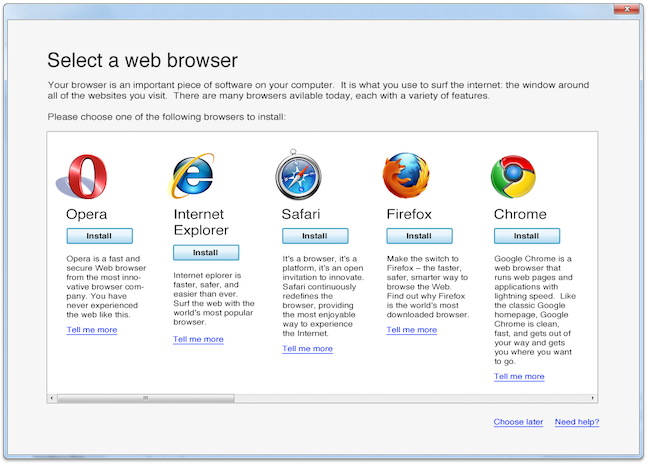 Microsoft's browser ballot for Windows 7
