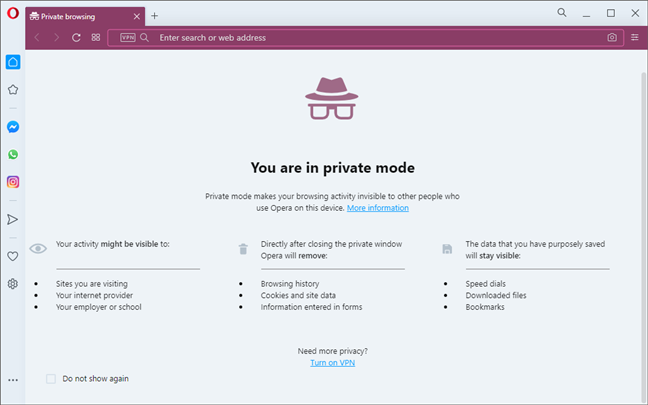 Private browsing window in Opera