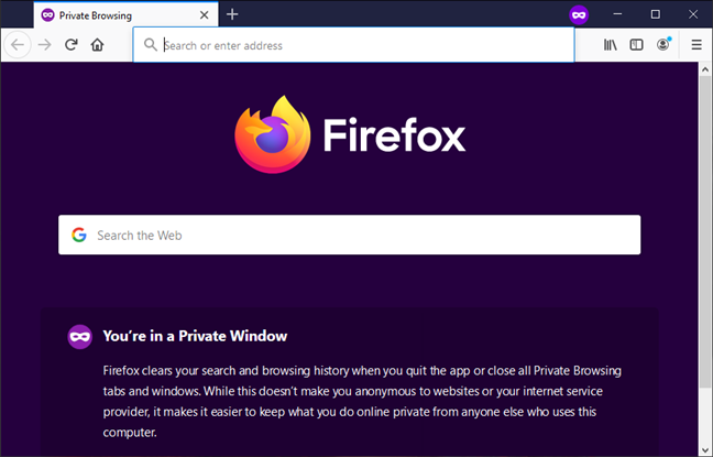 Private browsing in Mozilla Firefox