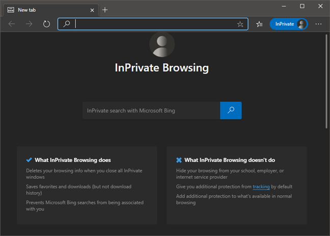 Microsoft Edge InPrivate Browsing window