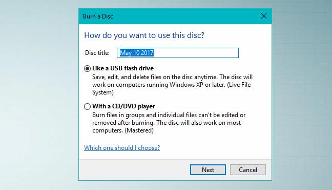 Windows, burn discs