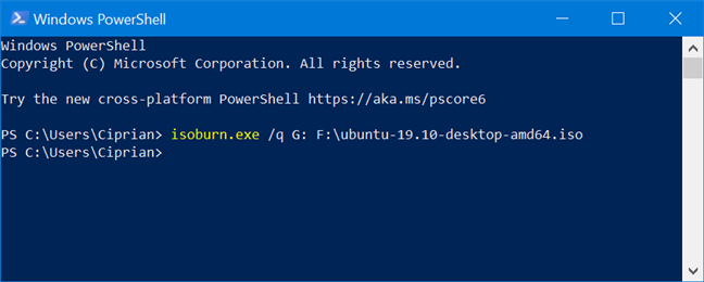 Burning a disc with isoburn.exe from PowerShell