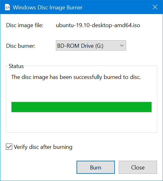 The disc image has been successfully burned to the disc