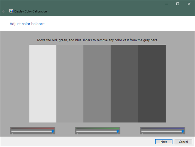 Adjust color balance in Windows 10