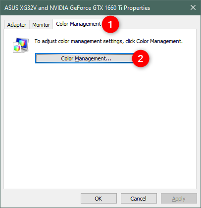 The Color Management button from the monitor's Properties window