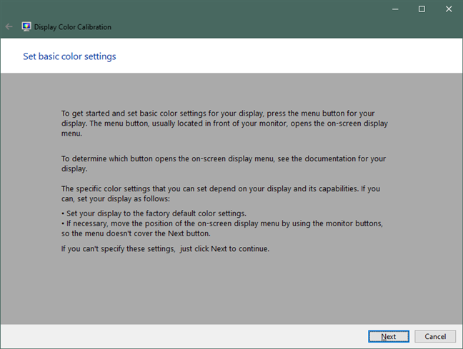 Set basic color settings in Windows 10