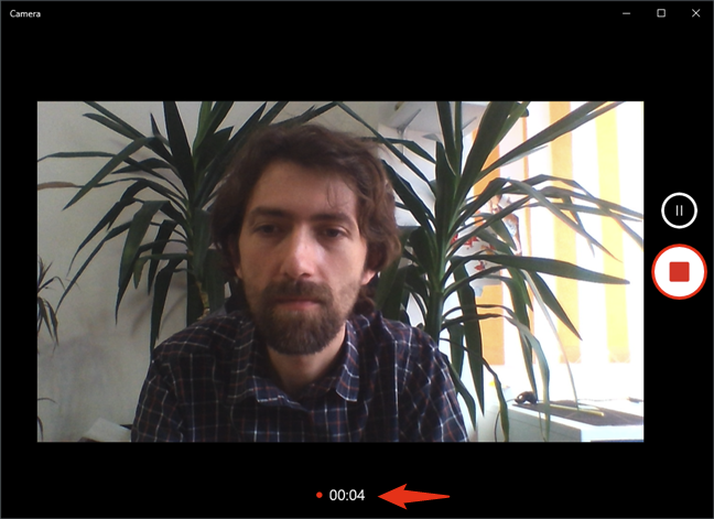Recording video with your webcam in Windows 10, using the Camera app