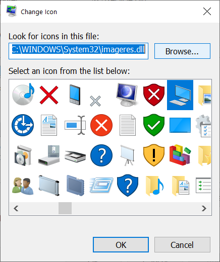 Select an icon or look for one in another file