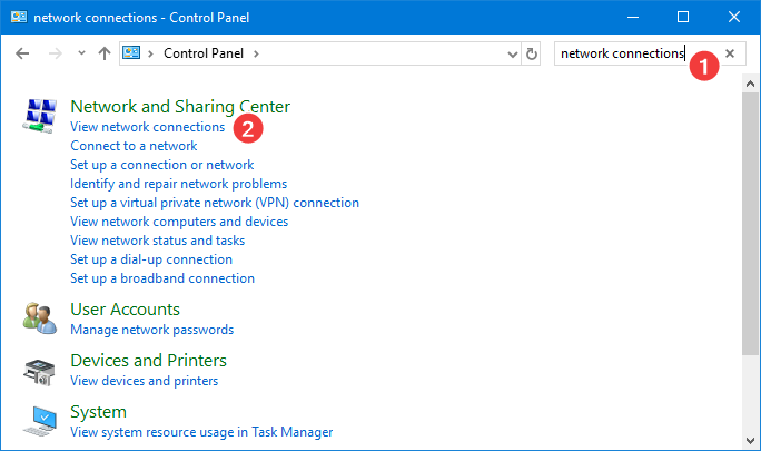 Search and open network connections in Control Panel