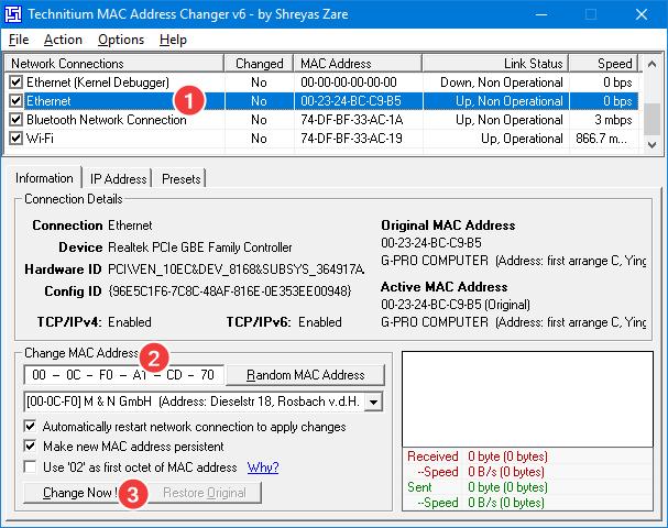Set a new MAC address using Technitium MAC Address Changer