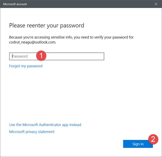 Windows 10, user password