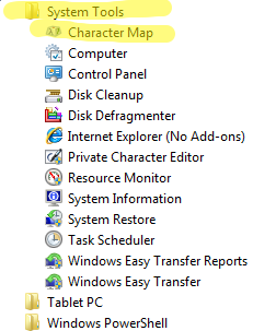 Character Map in Windows 7 and Windows 8