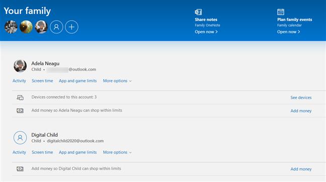 Microsoft ofrece una página web especial donde puede administrar su familia
