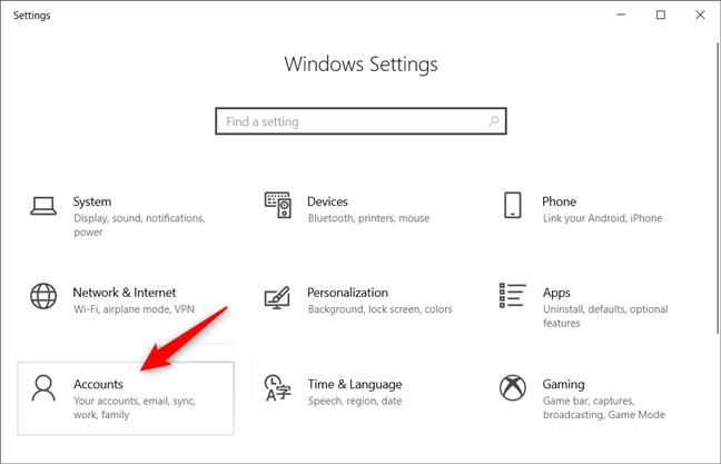 La categoría Cuentas de la configuración de Windows 10