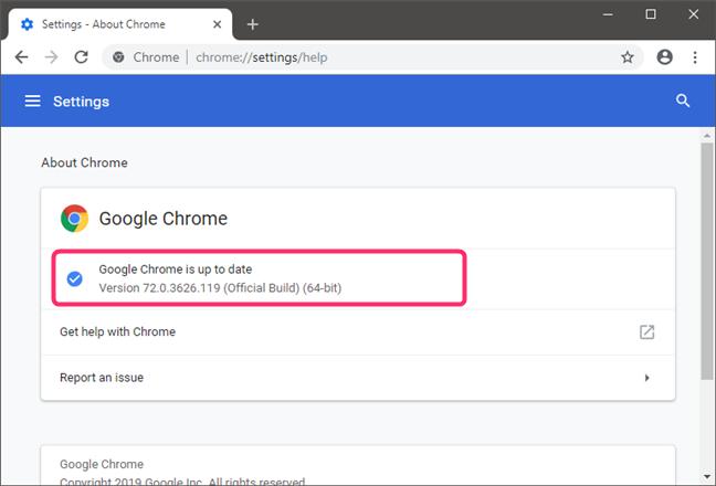 Checking the Google Chrome version