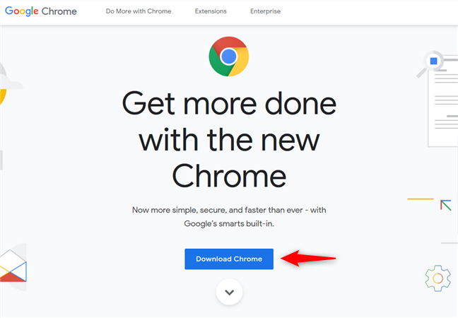 The Download Chrome link on the Chrome website