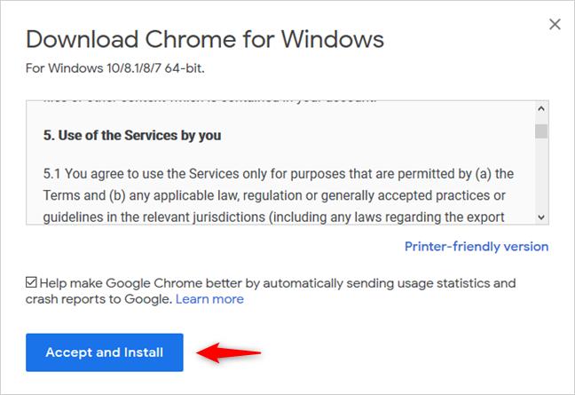 Downloading Google Chrome
