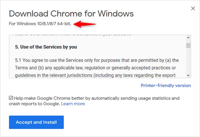 The 64-bit version of Google Chrome