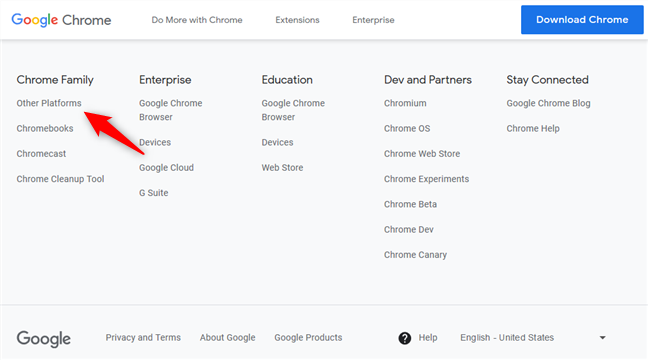 Links to Chrome for Other Platforms