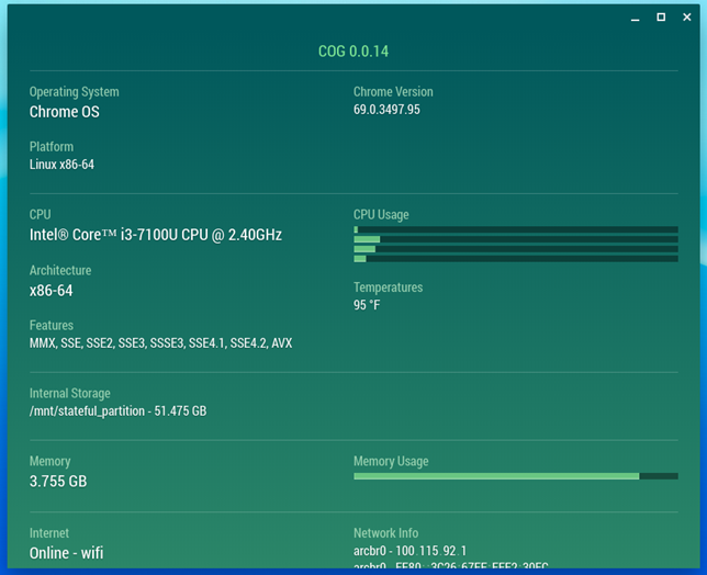 The hardware specs of an ASUS Chromebox 3