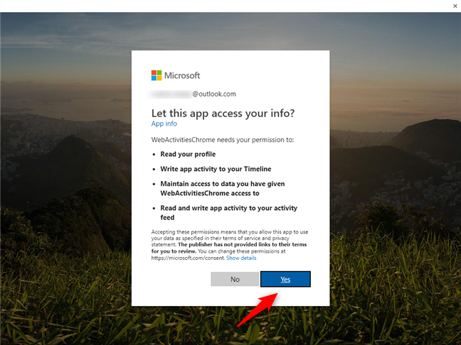 Allowing Web Activities to access your Microsoft account