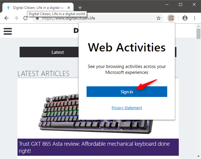 Signing into a Microsoft Account in Web Activities