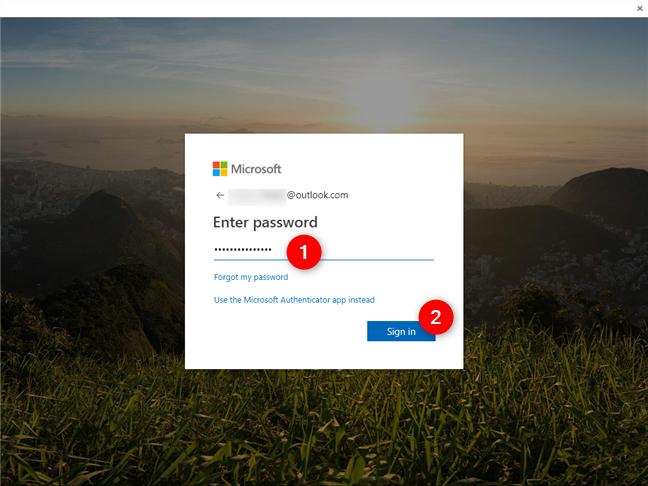 Entering the Microsoft account password