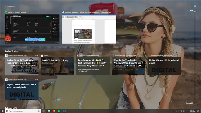 The Windows 10 Timeline showing past activities, including from Google Chrome