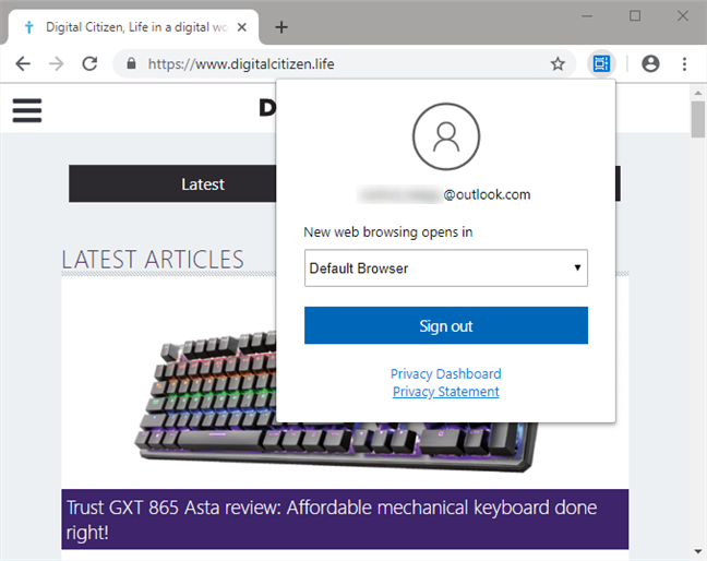 Choosing whether new web browsing opens the default browser or Microsoft Edge