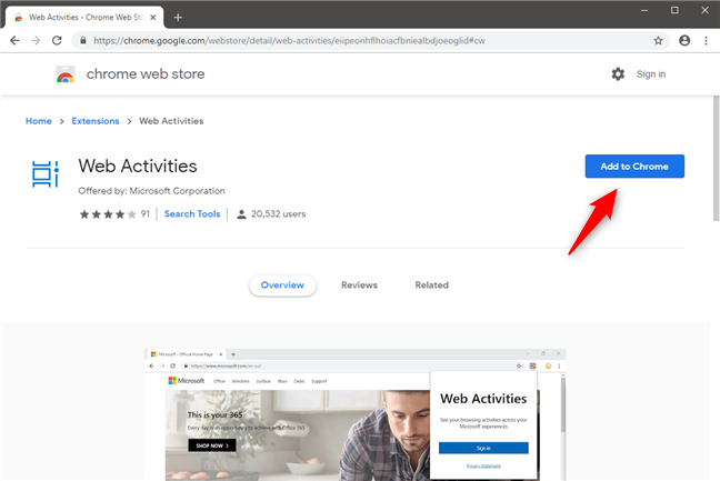 The Web Activities extension page