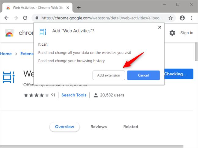 Installing the Web Activities extension in Google Chrome