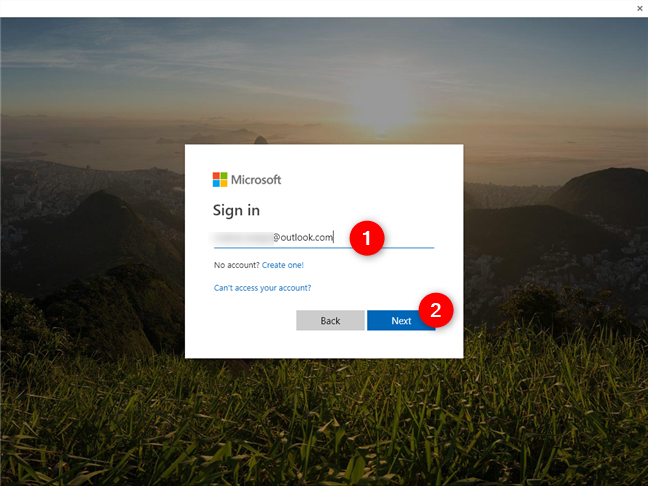 Entering the Microsoft account email