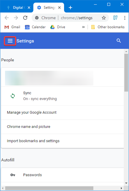 Open the Settings menu in Google Chrome for Windows
