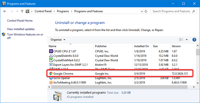 Google Chrome in the list of installed programs on Windows