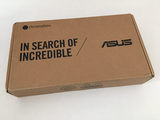 The top side of the ASUS Chromebox 3 package