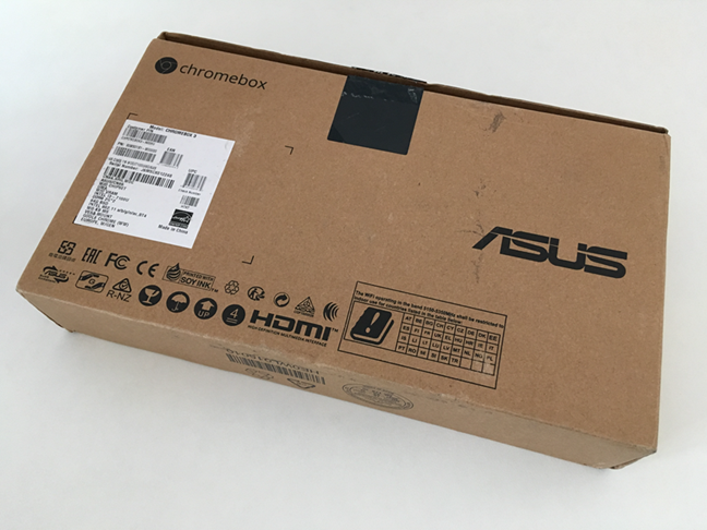 The bottom side of the ASUS Chromebox 3 package