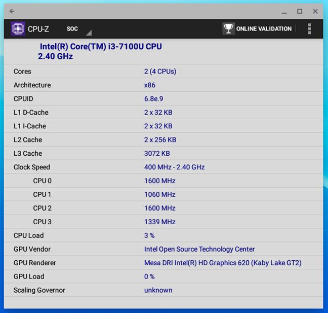 Details of the processor inside the ASUS Chromebox 3