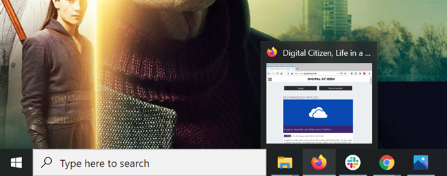Hover over an open app's icon to see a preview of its window(s)
