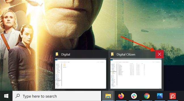 Close an app window from its taskbar preview's X button